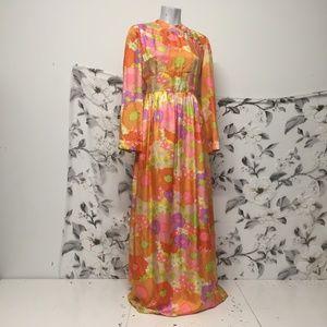 sz 6 8 abstract floral handsewn vintage maxi dress
